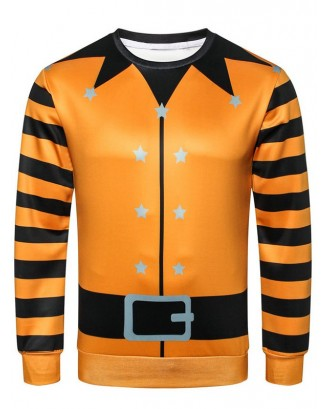 Casual Pullover Stripe Sleeve Sweatshirt - Dark Orange Xs