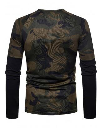 Camouflage Spliced Long Sleeve T-shirt - Coffee S