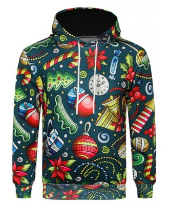 Candy Gift Printed Pocket Hoodie - Greenish Blue Xs