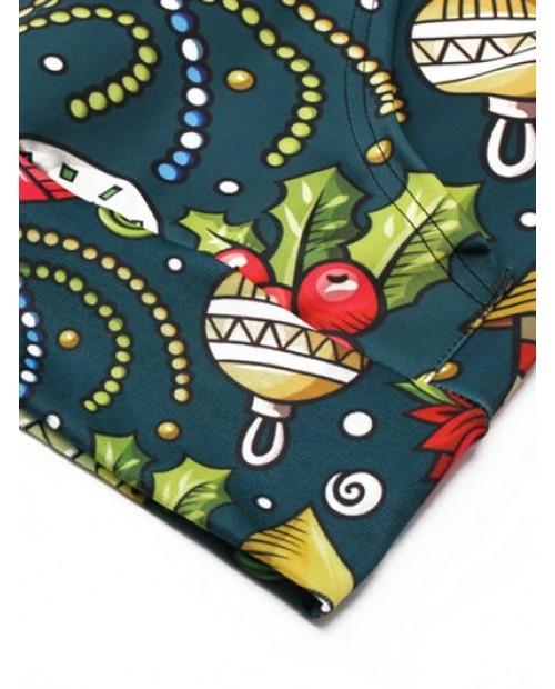 Candy Gift Printed Pocket Hoodie - Greenish Blue Xs