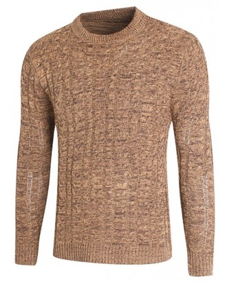 All-match Slim Round Collar Knitwear Sweater for Men - Peach M