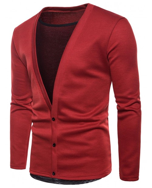Deep V Neck Mesh Lining Solid Cardigan Sweater - Red M